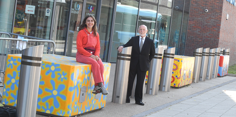 Anti-terrorist barriers become works of art